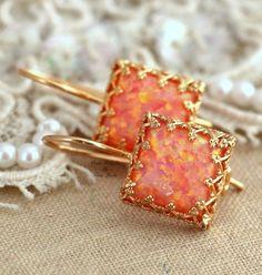Opal Earrings Opal Drop Earrings Fire Opal Earrings Gift for her Christmas Gift Australian Opal Orange Earrings Opal Gold Earrings Orange Earrings, Opal Earrings, Opal Jewelry, Body Jewelry, Bridal Jewelry, Fine Jewelry, Drop Earrings, Unique Jewelry, Stylish Jewelry