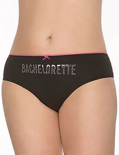 "Soft & sexy cotton hipster panty is party-ready with an embellished ""Bachelorette"" print and sheer lace back. A great gift for the bride-to-be! #LaneBryant"