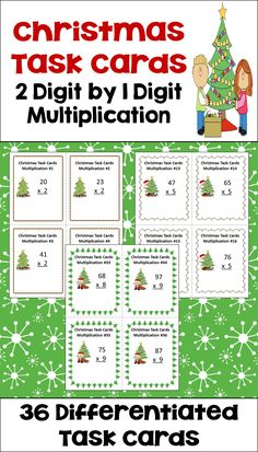 Christmas math is fun for kids with these 2 digit multiplication task cards for 4th and 5th grade students. Teachers can easily set up centers or activities in the classroom with these common core math task cards. There are 36 differentiated task cards in the set with a student recording sheet and answer key for easy grading.