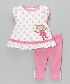 Pink Polka Dot Monkey Tunic & Pants - Infant