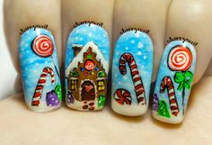 16 Awe-Inspiring Nail Art Designs for Short Nails ~ Nail Art Noel, Xmas Nail Art, Holiday Nail Art, Xmas Nails, Winter Nail Art, Cool Nail Art, Winter Nails, Diy Nails, Cute Nails
