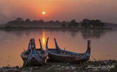 Tramonto sul Lago Taug Tha Man, Birmania.