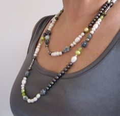 Black, White, Lime Pearl Long Necklace with Jade, Larimar, Snowflake Obsidian, Tourmaline and Sterling Silver Long Pearl Necklaces, White Pearl Necklace, Pearl White, Beaded Necklace, Large White, Black White, Snowflake Obsidian, Black Button, Necklace Designs