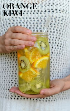 Orange Kiwi Infused Water - Get in your daily water quota with this Fruit-Infused Water - 6 ways! From berries, to citrus, to cucumber and herbs, we've got you covered for refreshing drink recipes all summer long!