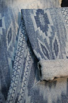 Indigo folk patterns are just one of our top picks for S/S 15 denim from last week'sDenim by Première Visionshow, seen in eco finishes like thisArvindsample usingJeanologia's amazing laser technology!