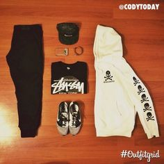 January 4th's top #outfitgrid is by @codytoday. #Kith #MercerPants, #Supreme #Hat, #Stussy #Tee, #Nike #Flyknits, and #Mastermind #flatlay #flatlayapp #flatlays www.theflatlay.com