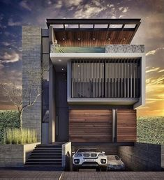 modern house front design :) you will surely loved it. Modern Villa Design, Modern Exterior House Designs, House Paint Exterior, Dream House Exterior, Exterior Design, Duplex House Design, House Front Design, Small House Design, Modern House Facades