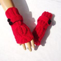Knitted Red Gloves Knit Red Mitten Winter Women by RoseAndKnit