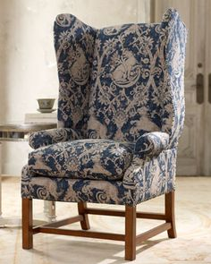 """""""Crescent"""" Wing-Back Armchair at Horchow."""
