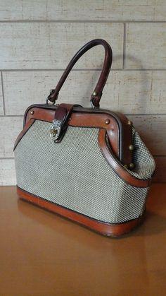 John Romain Vintage Tweed & Leather Handbag