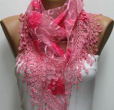 Women Shawl Scarf   Cowl  Pink   fatwoman by fatwoman on Etsy,