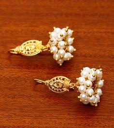 Golden And White Embellished Jhumki Earrings