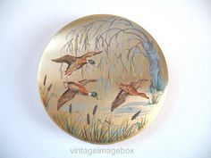 STRATTON powder compact, Three Flying Ducks, goldtone metal, vintage vanity accessory, retro women's beauty product, 1950s 1960s 50s 60s era,  by VintageImageBox