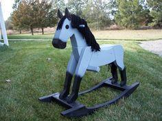 Beautiful handmade wooden rocking horses