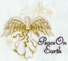 Peace on Earth with Angel, Embroidered flour sack towel, tea towel, hand towel or dish towel by embroiderybybeverly on Etsy