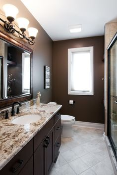 Brown bathroom paint, brown bathroom decor, downstairs bathroom, dark b Brown Bathroom, Brown Bathroom Decor, Room Paint Designs, Traditional Bathroom, Home Addition, Bathroom Makeover, Painting Bathroom, Painting Bathroom Cabinets, Small Shower Room