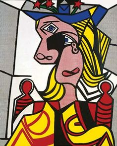 Roy Lichtenstein's Pop art masterpiece Woman with Flowered Hat (1963) closed at auction for $56 million in May 2013.   This pop art is all over the place, it's scrambled, like a jigsaw. I've notice that most pop art is unrealistic appeal and 2D effect, or you could say different shapes occur throughout the pieces.