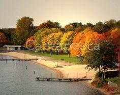 5 - Photografie, Herbstfarben, 13x18cm, 5x7, Foto, Wandbild, Herbst, Ansichtskarte, Wald, Bild, Bäume, Aufnahme, Stadtrand - by Cartapesta. €10,00, via Etsy.