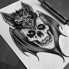 by Tat port inspo Dark Art Tattoo, Demon Tattoo, Gothic Tattoo, 1 Tattoo, Skull Tattoos, Animal Tattoos, Body Art Tattoos, Sleeve Tattoos, Tattoo Sketches
