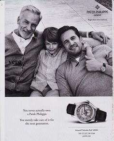 PATEK PHILIPPE 2016 magazine ad watch print advertisement father grand son