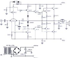 This is a power amplifier circuit project. The circuit features high power, good definition and very low noise. It delivers about 200 watts in 4 ohms loudspeaker: a 4 ohm speaker or two pieces… Electronics Projects, Electrical Schematic Symbols, Electronic Circuit Design, Power Supply Circuit, Schematic Design, Susa, Stereo Amplifier, Circuit Projects, Circuit Diagram