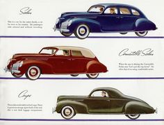 1939 Lincoln Zephyr Sedan, Convertible Sedan and Coupe