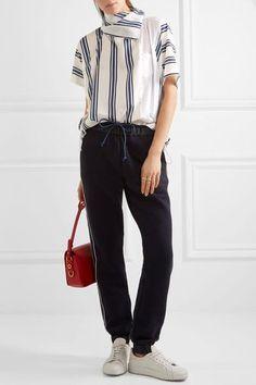 Sacai | Striped linen-blend and slub jersey T-shirt | NET-A-PORTER.COM