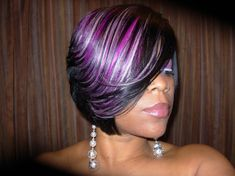 quick weave hairstyles for black women | Raymona hairstyles with wigs purple feathered haircut front