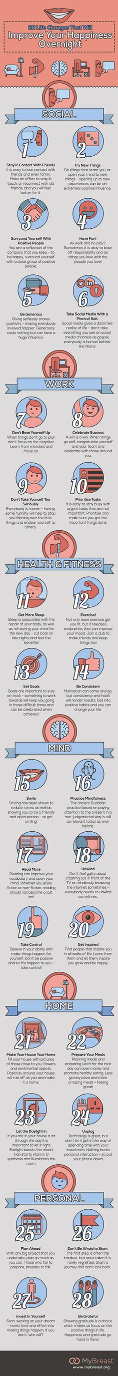 Infographic: 28 Life Changes That Will Improve Your Happiness Overnight - DesignTAXI.com