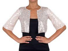 PINKO - Cardigan - coprispalle AUSTRALE manica a tre quarti con paillettes - Bianco - Elsa-boutique.it <3 #Pinko