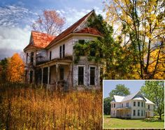 """Rt 92 Farmhouse before and after.  """"New Life for an Old House."""" July 1, 2010.  Found on Photographic Design.  The photographer took the picture of the abandoned old home and it ended up in West Virginia Magazine.  Later she saw that it was being renovated - see inset. Great story."""
