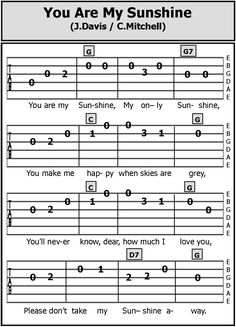 Guitar TAB Songs: You Are My SunshineYou can find Ukulele songs and more on our website.Guitar TAB Songs: You Are My Sunshine Ukulele Tabs Songs, Ukulele Fingerpicking Songs, Ukulele Songs Beginner, Guitar Chords And Lyrics, Guitar Sheet Music, Ukulele Art, Fingerstyle Guitar, Easy Guitar Songs Acoustic, Easy Guitar Tabs