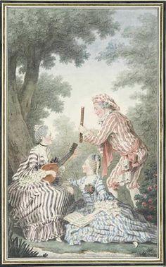 """""""Mme. de Meaux, Mlle. de Meaux, and M. de Saint-Quentin"""" by Louis Caroggis Carmontelle (1758)"""