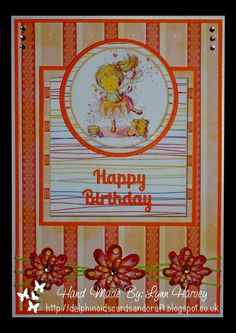 Delphinoid's Cards and Craft:  A5 Size Card - Little Ballerina and Flowers