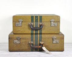 Vintage 1940's Leather Luggage Set / Vintage by havenvintage, $89.00