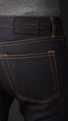 Skinny Fit Indigo Selvedge Jeans   Burberry