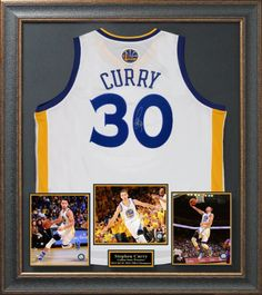 Stephen Curry Signed Golden State Warriors Home Jersey Display.
