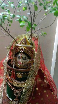 Thulasi Maa Gauri Decoration, Mandir Decoration, Ganapati Decoration, Diwali Decorations, Festival Decorations, Flower Decorations, Rangoli Designs Diwali, Diwali Rangoli, Paper Flowers Craft