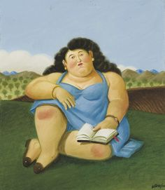 """La lecture"" Fernando Botero, huile sur toile, 42,2 x 36,5 cm, 2000, collection privée > http://www.christies.com/lotfinder/lot_details.aspx?intObjectID=5316898"