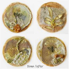 For  WOYWW  this week - four little teabags depicting the emergence of Spring.   I used some of the  eco-printed papers  I made and also a ...