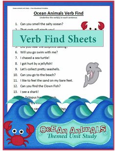 Get the older kids into the ocean animals them unit as well with this verb find worksheet! Some of the sentences are a bit difficult, but I have confidence that your child(ren) can identify the verbs AND have […] Verb Worksheets, Worksheets For Kids, Science Activities, Kids Learning, Lesson Plans, Homeschool, The Unit, Teaching, Ocean Crafts