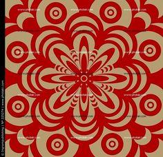 Diseño abstracto se muestra en marrón y rojo con una temática floral