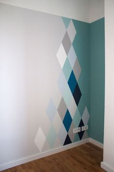 dieartigeblog wandgestaltung rauten in blau und grautnen - Childrens Bedroom Wall Painting Ideas