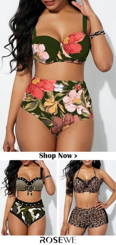 up to 51 off floral print high waist spaghetti strap bikini set Swimwear Fashion, Bikini Fashion, Bikini Swimwear, Swimwear Sale, Sweet Style, Sexy Women, Estilo Converse, Mode Du Bikini, Plus Sise