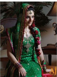 Green color is very common for wearing mehndi dress. have a look at the latest trends of green mehndi dresses 2014 for women. Pakistani Mehndi Dress, Bridal Mehndi Dresses, Pakistani Bridal, Wedding Dresses, Pakistani Couture, Indian Couture, Pakistani Dresses, Indian Bridal Wear, Asian Bridal