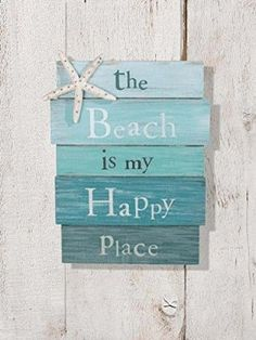 "The Beach Is My Happy Place - Plank Board Sign with Starfish and Rhinestone Accents 12"" X 9"""