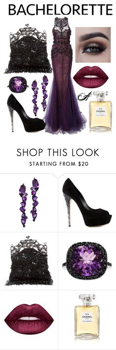 """The Bachelorette"" by whittywoman on Polyvore featuring Marchesa, Plukka, Casadei, Badgley Mischka, Lime Crime and Chanel"