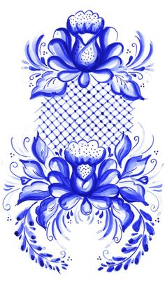 Folk Embroidery Patterns Folk Gzhel painting from Russia. Hungarian Embroidery, Folk Embroidery, Embroidery Patterns, Folk Art Flowers, Flower Art, Tole Painting, Fabric Painting, Rosen Tattoos, Russian Folk Art