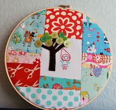 Patchwork hoop, love the vintage material with the little girly!