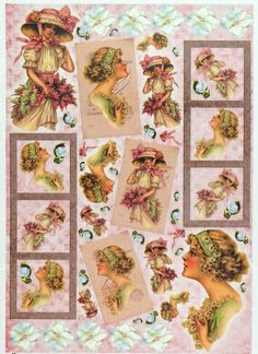 Rice Paper for Decoupage Decopatch Scrapbook Craft Sheet Vintage Lady with Pink